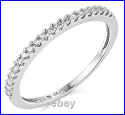 0.45 Ct Round Real 14k White Gold Pavé Engagement Wedding Anniversary Band Ring