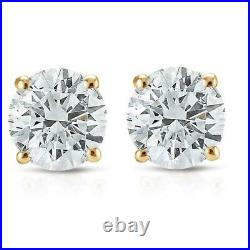 1/2ct Natural (Real) Round Cut Diamond Stud Earring set in 14k Yellow Gold