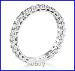 1.75 Ct Round Real 14k White Gold Eternity Pavé Anniversary Wedding Band Ring