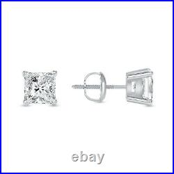 1 Ct Princess Cut Earrings Studs Real Solid 14K White Gold Screw Back Basket