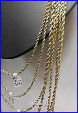 10K Gold Chain Real Rope Necklace Men Women 3mm 18 20 22 24 26 28 Inch REAL 10KT