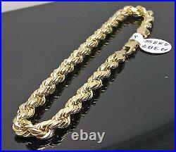10K Men Yellow Gold Rope Bracelet 5mm 8 Inches Real Gold