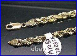 10K Yellow Gold Men Rope Chain 5mm Necklace 23 Inch 10kt Real Gold Diamond cut