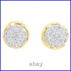 10K Yellow Gold Real Diamond 6-Prong Sutds 8mm Mens 3D Pave Earrings 0.15 CT