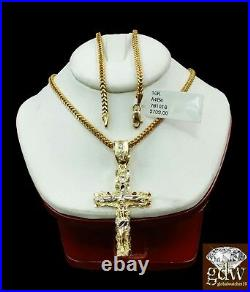 10k Gold 20 Franco chain 10k cross pendant Set REAL 10kt Yellow Necklace Charm