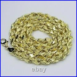 10k Yellow Gold Rope Chain Necklace 30 6mm For Mens REAL 10kt Gold, Diamond Cut