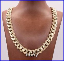 13mm Mens Miami Cuban Royal Link Chain Necklace Box Clasp Real 10K Yellow Gold