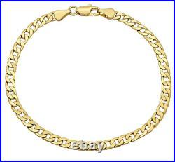 14K Yellow Gold 2.6MM Curb/Cuban Link Chain Bracelet 8 inches- ITALY Real 14KT