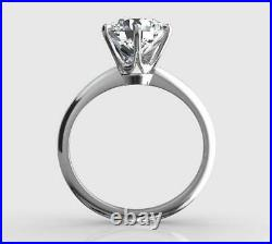 2 Ct Real Natural Diamond Engagement Ring Round Cut E Si2 14k White Gold