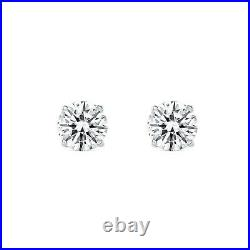 2 Ct Round Created Diamond Earrings Studs Real 14K White Gold Basket Screw Back