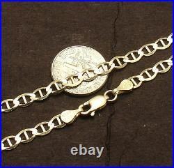 4mm 8 Mariner Anchor Gucci Link Chain Bracelet Real Solid 10K Yellow Gold