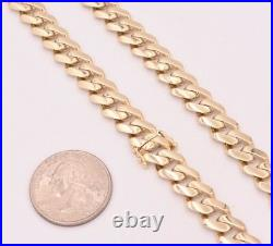 9mm Mens Miami Cuban Royal Link Chain Necklace Box Clasp Real 10K Yellow Gold