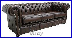 Brand New Chesterfield 3 Seater Sofa Settee Couch Antique Brown Real Leather