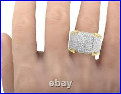 Men's 10K Yellow Gold Iced Real Diamond 3D Eternity Pinky 4 Prong Ring 1.50ct