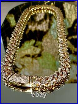 Men's Miami Cuban Link Chain 12mm Ice Out 14k Gold Diamond FILL Real ICY Choker