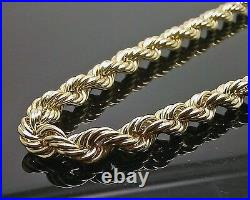 Mens 10K Yellow Gold Rope Chain Thick Necklace 26 8mm REAL 10KT Diamond cuts