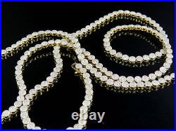 Mens Ladies Solid Yellow Gold Pave 1 Row Real Diamond Chain Necklace 7.5 ct 24