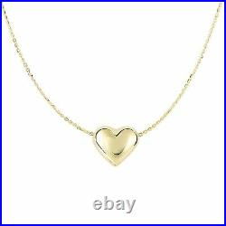 Puffed Mini Heart Charm Cable Chain Pendant Necklace Real 14K Yellow Gold 18