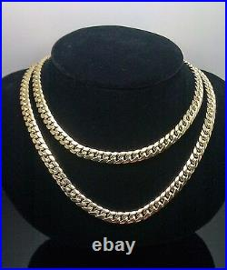 REAL 10K Yellow Gold Miami Cuban Mens Necklace 6mm 28 Inch, Franco, Rope, Italian