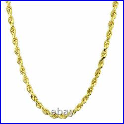 REAL 10k Yellow Gold Italian 4mm Mens Womens Diamond Cut Rope Chain Necklace 20