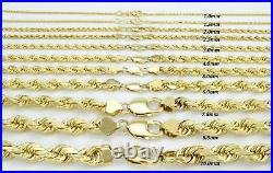 Real 10K Yellow Gold 2mm to 7mm Diamond Cut Rope Chain Pendant Necklace 16- 32