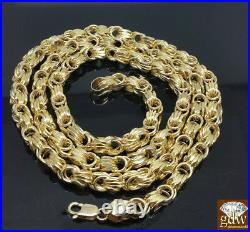 Real 10K Yellow Gold Byzantine chino Chain Necklace 22 inch 6mm Cuban Rope