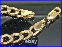 Real 10K Yellow Gold Cuban curb Link Bracelet 5mm 8 Inch, Rope, Franco, Unisex