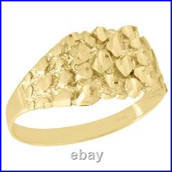 Real 10K Yellow Gold Men's Nugget Ore Style Pinky Ring Custom Fancy Band 10.5mm