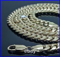 Real 10K Yellow Gold Miami Cuban Link Chain Necklace 7mm 28 inch Franco Rope