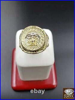 Real 10k Gold Mens Ring Medusa Head Thick band Pinkey Ring Sizable 10