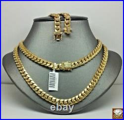 Real 10k Gold Solid Miami Cuban Chain Necklace 7mm 19inch Box Lock