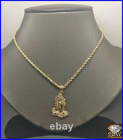 Real 10k Yellow Gold 3mm 24 Rope Chain & Praying Hand Charm Pendent Cross N