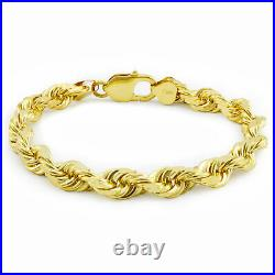 Real 10k Yellow Gold 7mm Italy Diamond Cut Rope Chain Bracelet Lobster Clasp 8