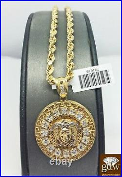 Real 10k Yellow Gold Medusa Head Charm Pendant 28 inch Rope Chain Necklace Men