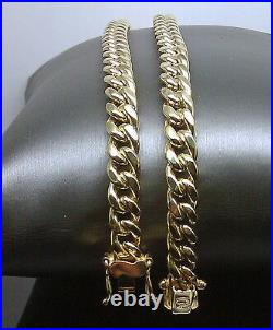 Real 10k Yellow Gold Mens Miami Cuban Link Chain Box Lock 22 inch 8mm Necklace