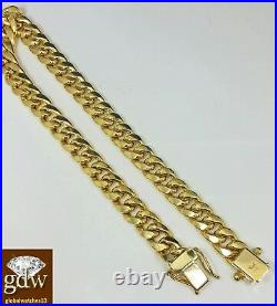 Real 10k Yellow Gold Miami Cuban Bracelet 7mm 7 Inch Box Lock strong Link Small