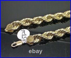 Real 10k Yellow Gold Rope Chain 28 Inch 8mm Thick Men's Necklace Franco Cuban
