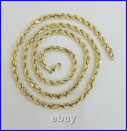 Real 10k Yellow Gold Rope Chain 4mm 18 Diamond Cuts 10 kt Necklace Men Women