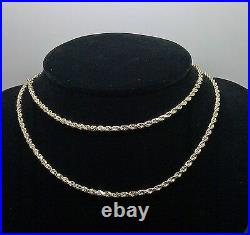 Real 10k Yellow Gold Rope Chain Necklace Diamond Cuts 22 Inch 2.5mm Lobster