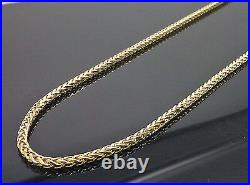 Real 10kt Yellow Gold 24 Inch Palm Chain Necklace 3mm Men women