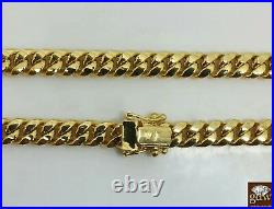 Real 14K Yellow Gold Miami Cuban Chain Necklace 24 inch 8mm Mens Link Box Clasp