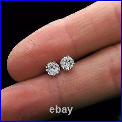 Real 14k White Gold 1ct Brilliant Created Diamond Earrings Round Stud Screw-back