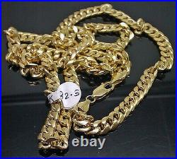 Real Gold 7mm 24 Mens Cuban Link Necklace 10KT yellow Gold Chain Strong Links