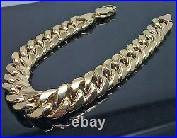 Real Men's 14K Yellow Gold Miami Cuban Bracelet 9 inch Rope, Link 8.5mm Brand New