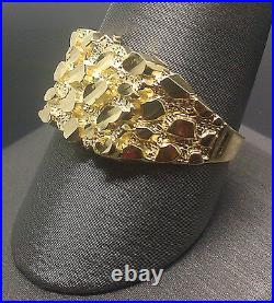 Real SOLID 10k Yellow Gold Nugget men Ring Sizable pinky casual